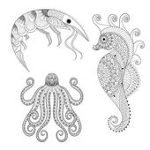 Pic additionally Sea Mandala Waves Seahorse Zentangle Inspired 575168008 also Drawing of sea creatures together with Stock Illustration Hand Drawn Sea Horse Zentangle additionally Stock Illustration Vector Monochrome Hand Drawn Illustration Aquarium Algae Corals Underwater World Black White Image61034046. on stock illustration doodle sketch seahorse black line sea marine