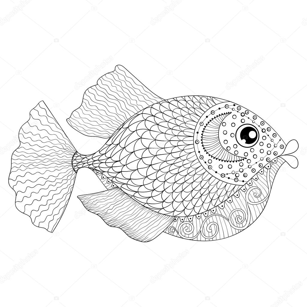 hand drawn zentangle fish for adult anti stress coloring pages stock vector - Stress Coloring