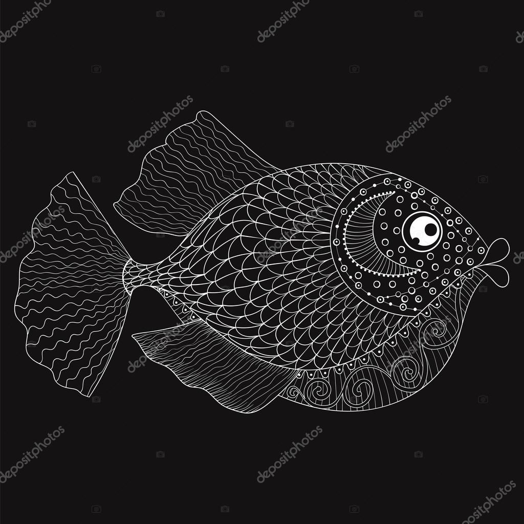 Hand Drawn Zentangle Fish For Adult Coloring Pages Post Card M
