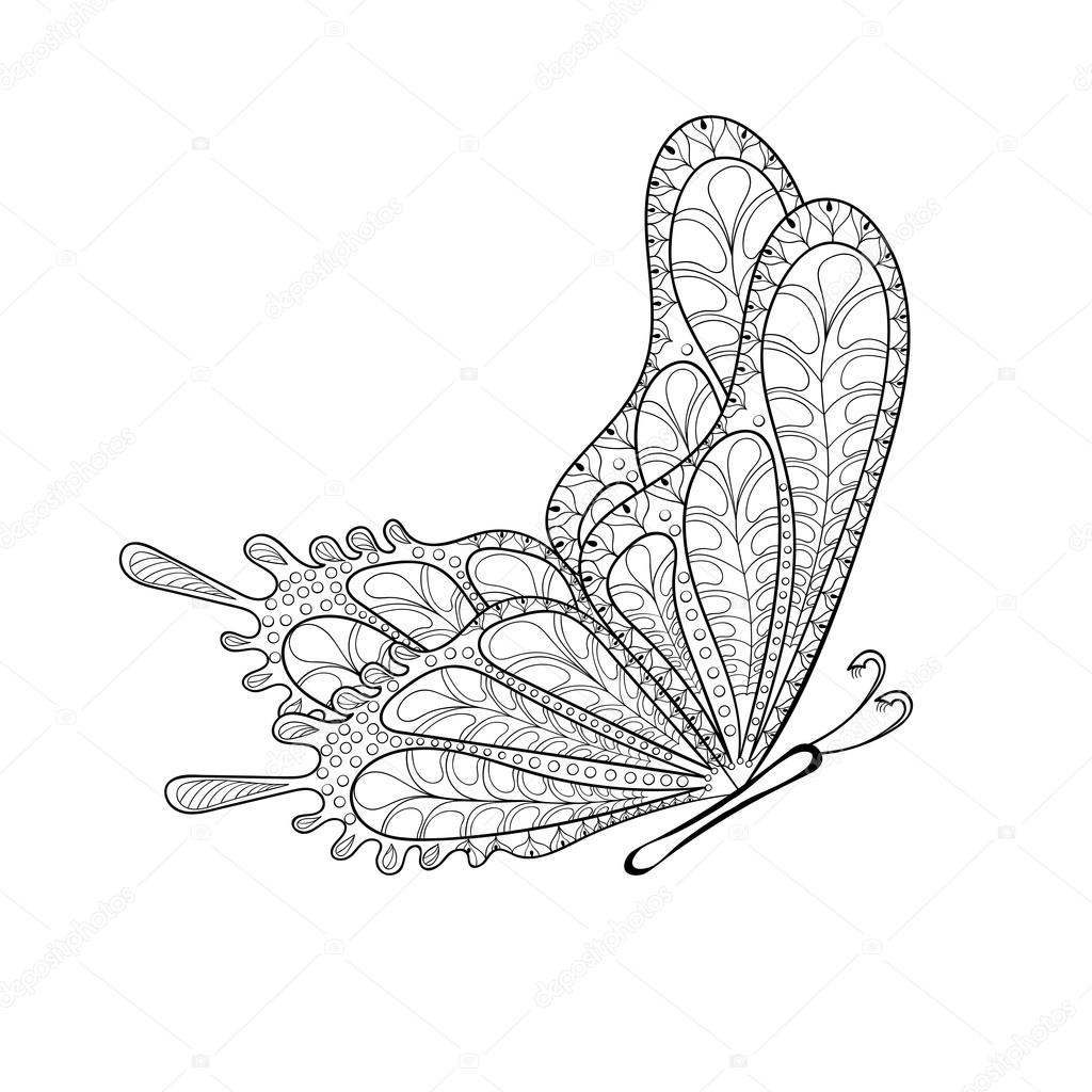 Hand drawn zentangle tribal flying butterfly for adult anti stre