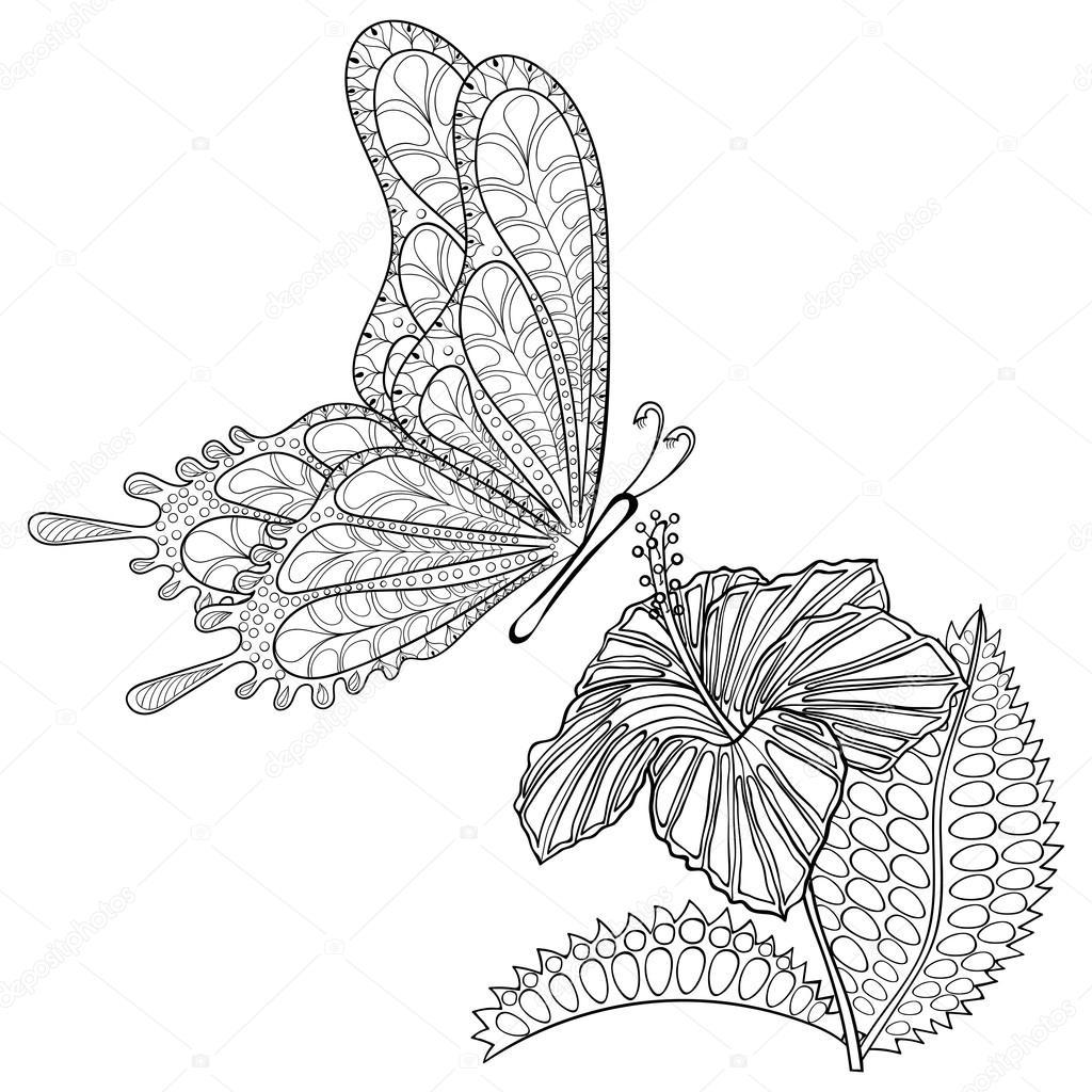 Mano dibujada zentangle tribales vuelo mariposa y Hibiskus flor ...