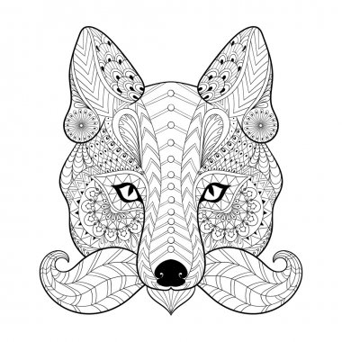 Hand drawn zentangle tribal Fox face for adult anti stress color