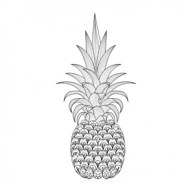 Hand drawn ornate Pineapple, zentangle tribal exotic fruit for a