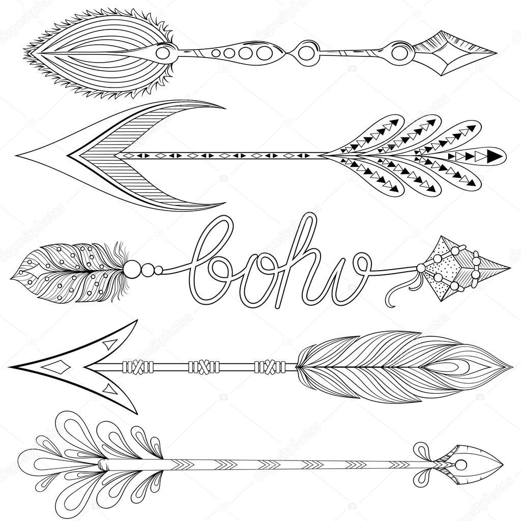 fl ches de boh me serti de plumes fl ches d coratives dessin es la main image vectorielle i. Black Bedroom Furniture Sets. Home Design Ideas
