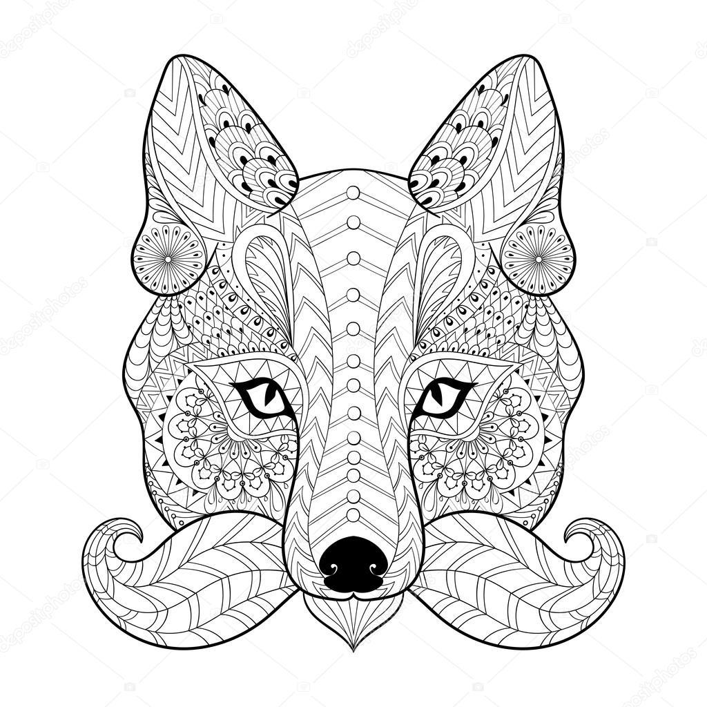 Dibujos Tribales Para Imprimir Dibujado A Mano Zentangle Fox