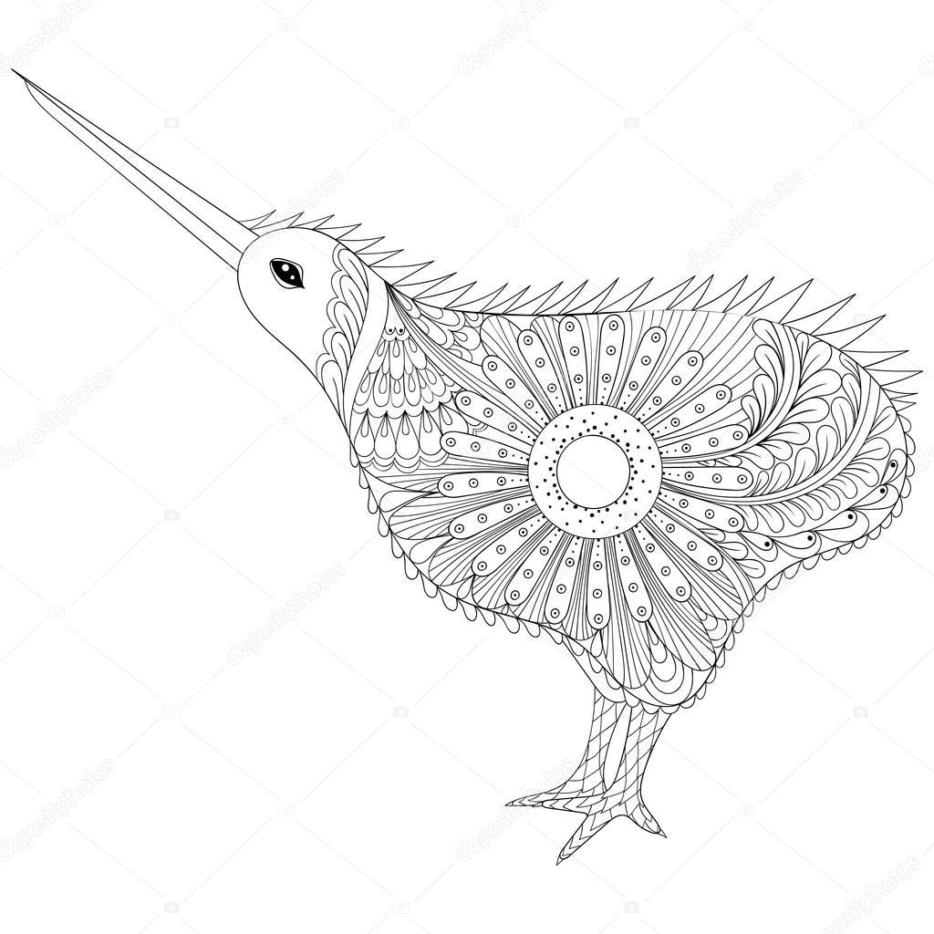 Zentangle Dessiné à La Main Tribal Oiseau Kiwi Symbole De La