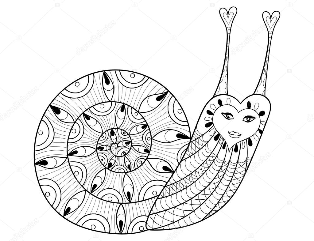 Vector zentangle Snail for adult coloring pages, art therapy, e ...