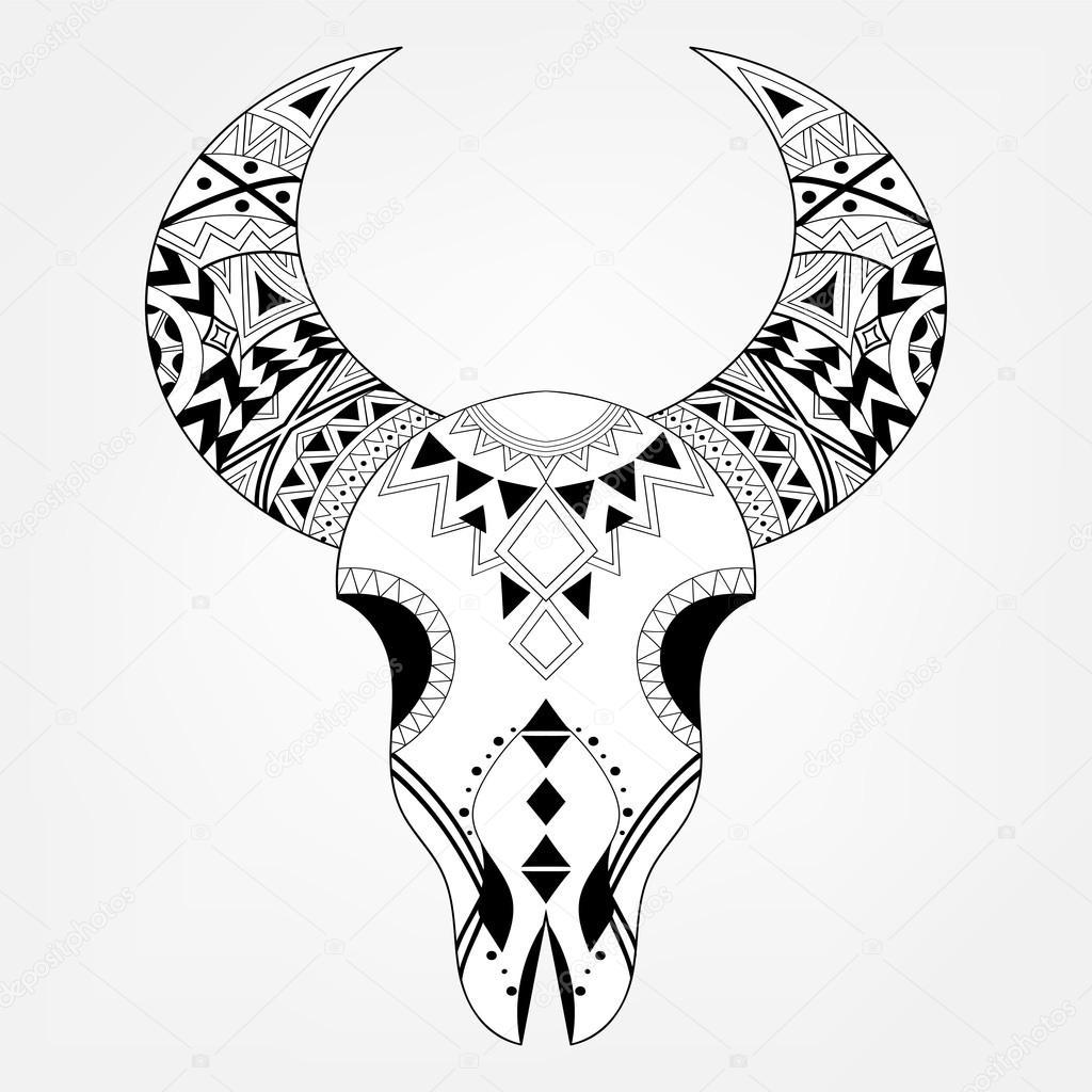 Zentangle Tier Schädel Im Stammes Stil Freihand Boho Skizze
