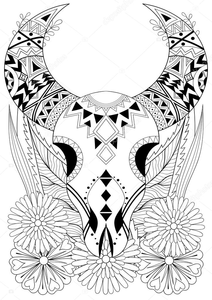 Zentangle Stylized Animal Skull With Flowers Hand Drawn Ethnic