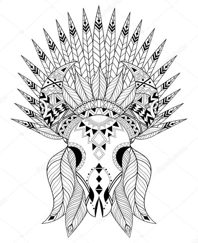 Zentangle Stylized Animal Skull With Warbonnet Hand Drawn Ethni