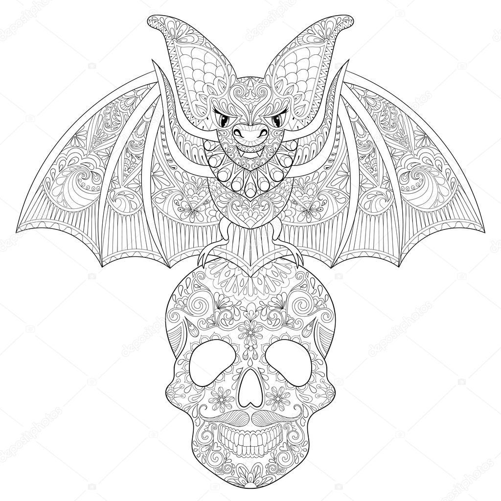 Zentangle stylized Bat seating on sugar Skull for Halloween. Fre ...