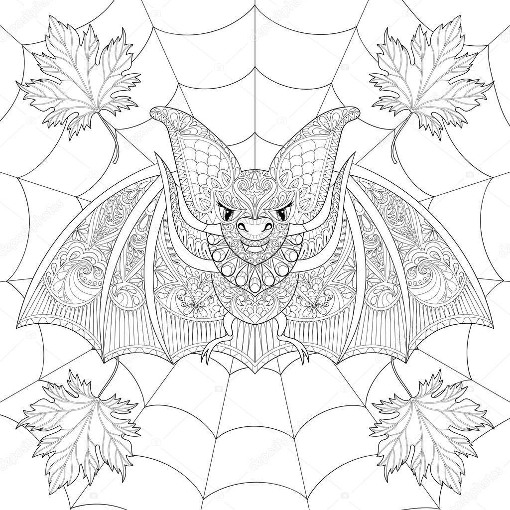 Zentangle stylized Bat with fall autumn leaves on spider web for ...