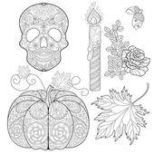 Fotografia Zentangle stylized  Skull, candle, rose, oak acorn, pumpkin, aut