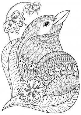 Zentangle exotic bird in flowers. Hand drawn ethnic animal for a