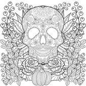 Fotografia Zentangle stylized Skull with pumpkin, rose, sunflower for Hallo