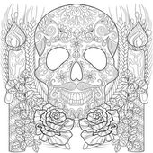 Fotografia Zentangle stylized Skull with candles, roses, ears for Halloween