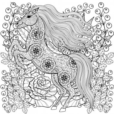 Zentangle stylized Unicorn on roses, sunflowers. Freehand sketch