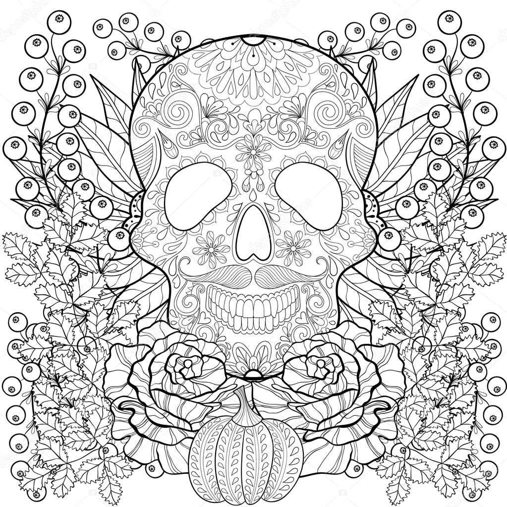 Zentangle Stylized Skull With Pumpkin Rose Sunflower For Halloween Freehand Sketch Adult Anti Stress Coloring Page Autumn Doodle Elements