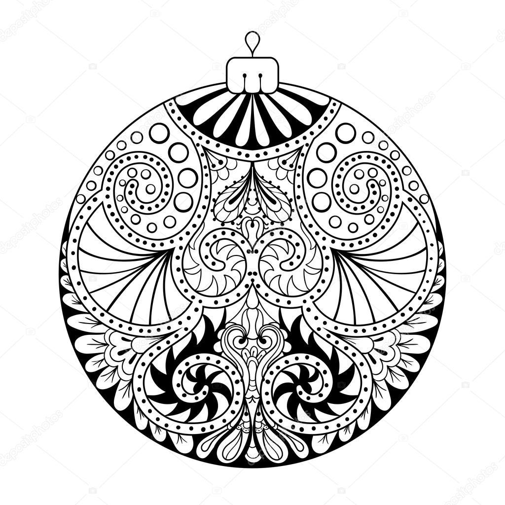 zentangle stilisiertes neues jahr weihnachtsball