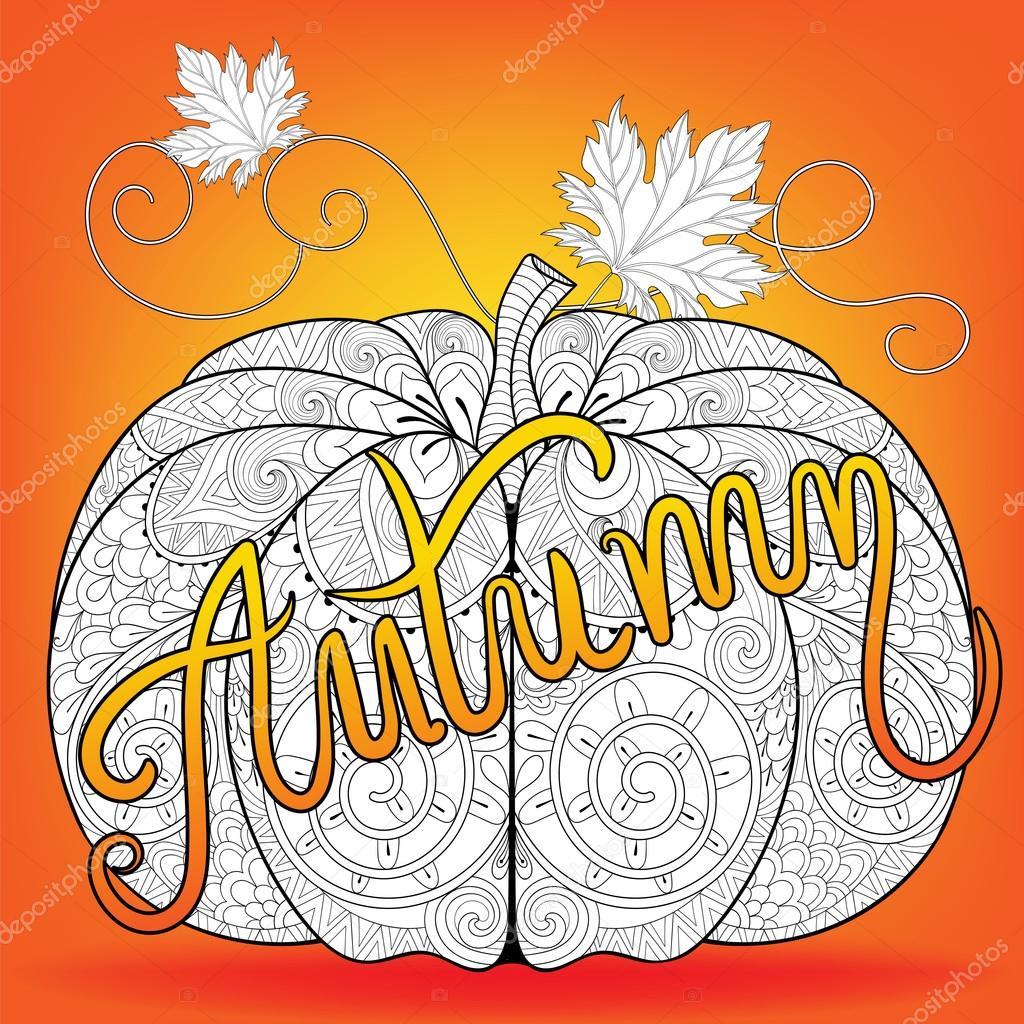 Zentangle estilizado color calabaza con otoño tipográfico para cov ...