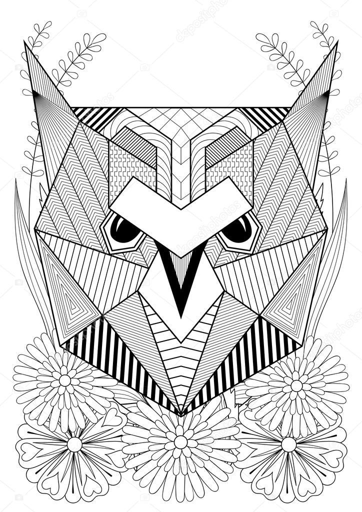 Dibujos: etnicos de animales | Zentangle estilizado rostro de buho ...