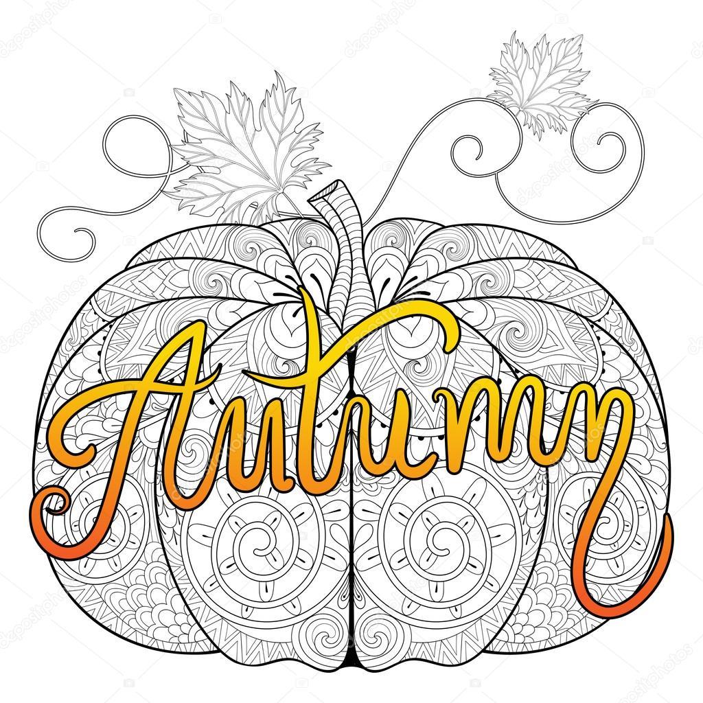 Zentangle estilizado color calabaza con otoño tipográfico para Tha ...