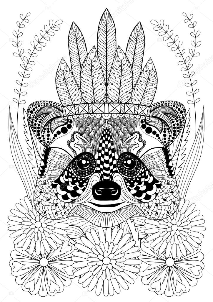 Zentangle stiliserade tvättbjörn med war bonnet på blommor. Hand Rita — Stock vektor #122408340