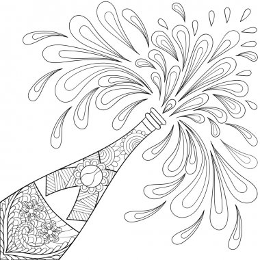 Champagne explosion bottle, zentangle style. Freehand sketch for