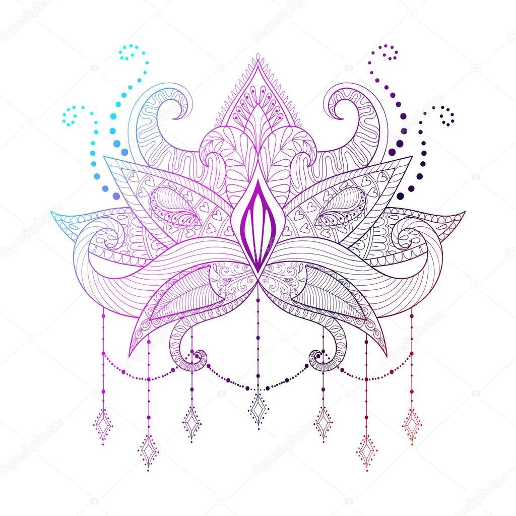 Boho Ornamental Color Lotus Flower Blackwork Tattoo Design Ind