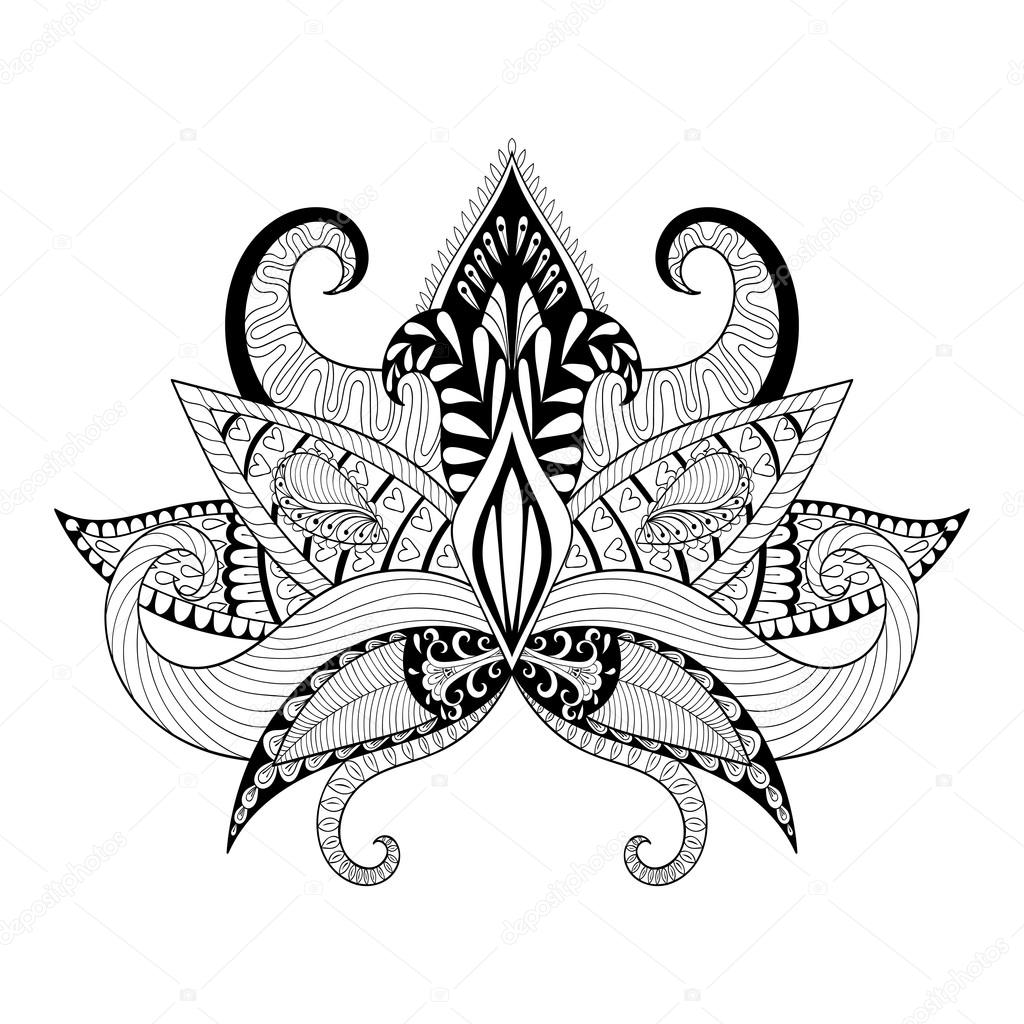 Boho ornamental lotus flower blackwork tattoo design indian pa boho ornamental lotus flower blackwork tattoo design indian pa stock vector mightylinksfo