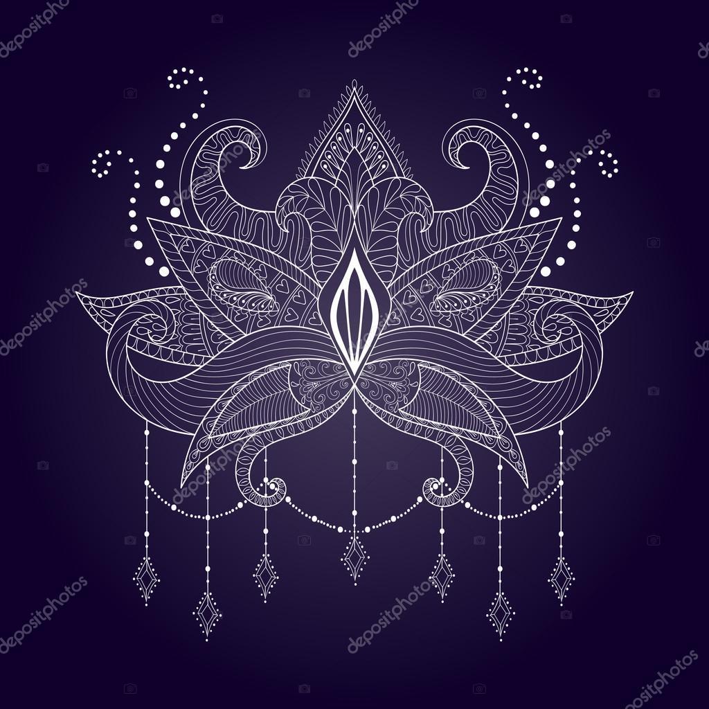 Boho ornamental white lotus flower blackwork tattoo design ind boho ornamental white lotus flower blackwork tattoo design ind stock vector izmirmasajfo Images