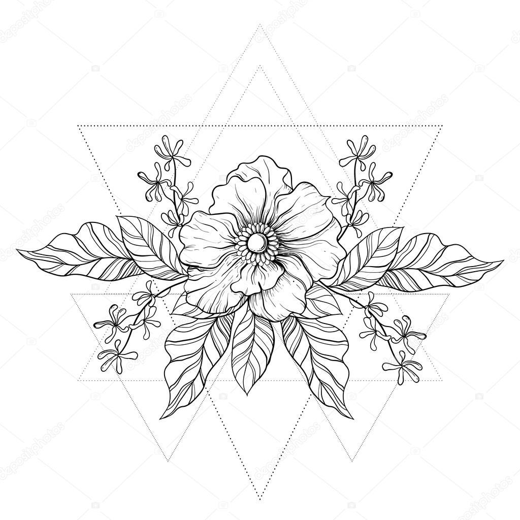 Hand Drawn Boho Tattoo Blackwork Flower In Hipster