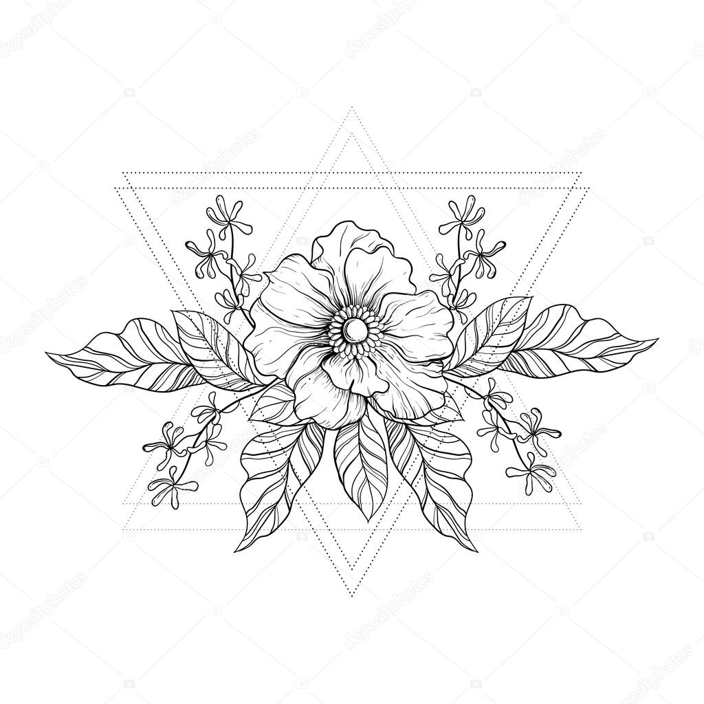 9bd8b0370e74a Hand drawn boho tattoo. Blackwork flower in hipster triangles frame. Vector  illustration, tattoo sketch isolated on white for t-shirt print, poster, ...
