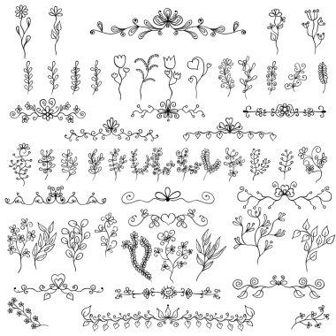 Doodles design elements. Flower decoration for invitation and sc