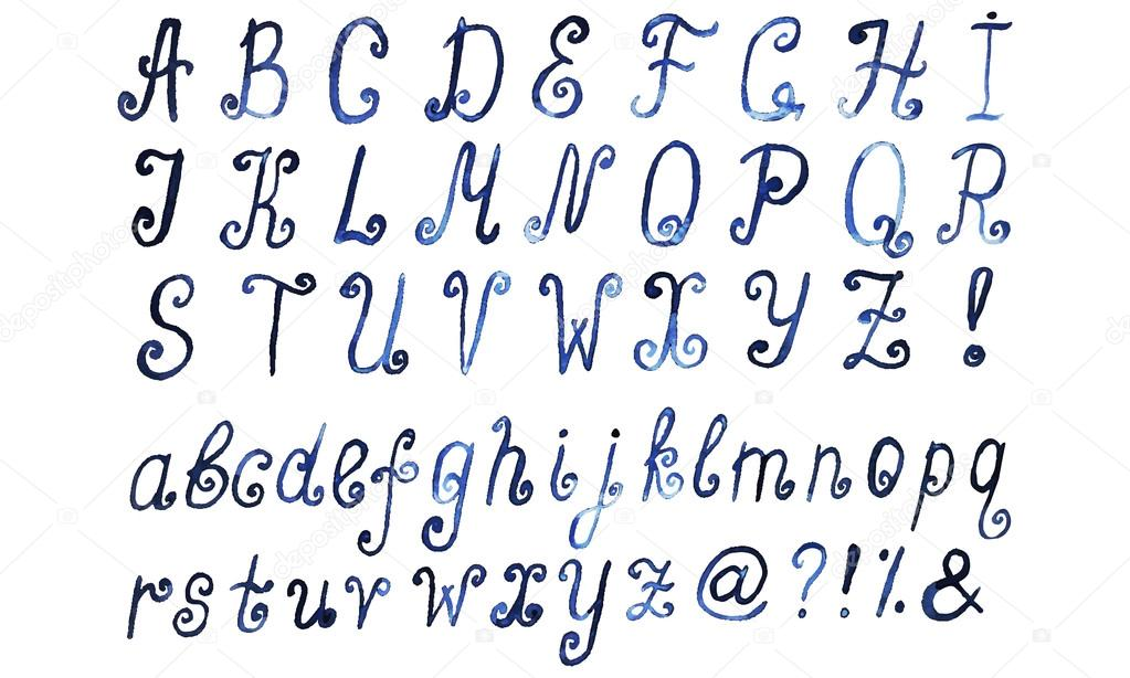Alphabet Artistique alphabet aquarelle bleue. police de caractère artistique dessiné
