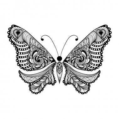 Zentangle stylized black Butterfly