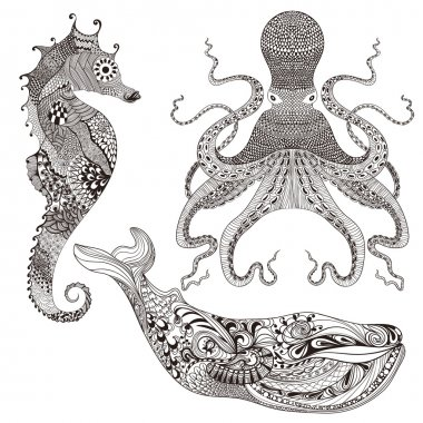 Octopus, Whale and Sea Horse