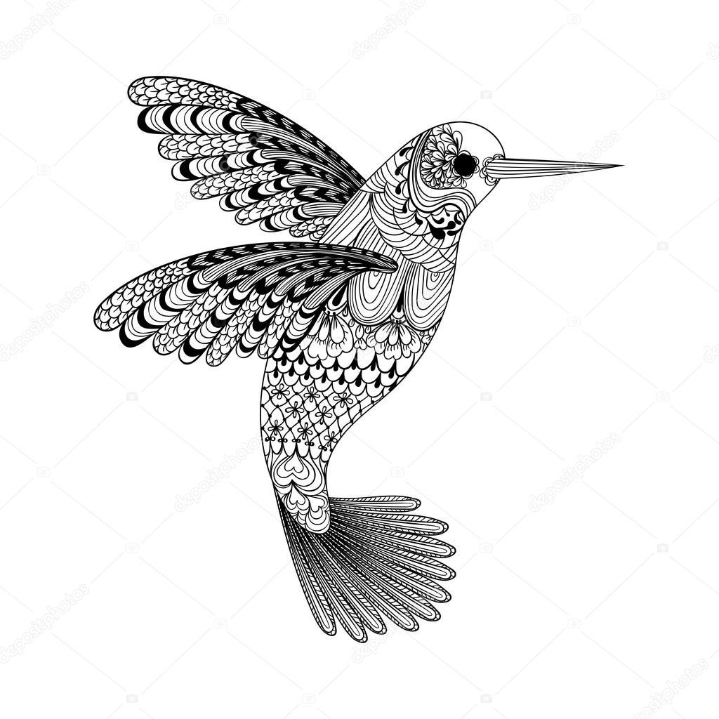 Zentangle stylized black Hummingbird
