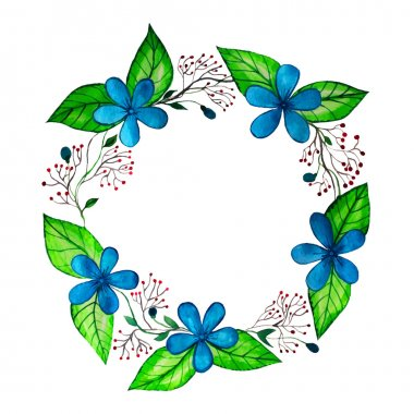 Spring wreath with blue flowers