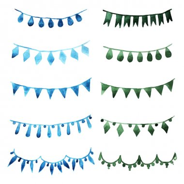 Watercolor set vintage green garlands for party and wedding decoration. Vector desidn elements isolated on white background. clip art vector