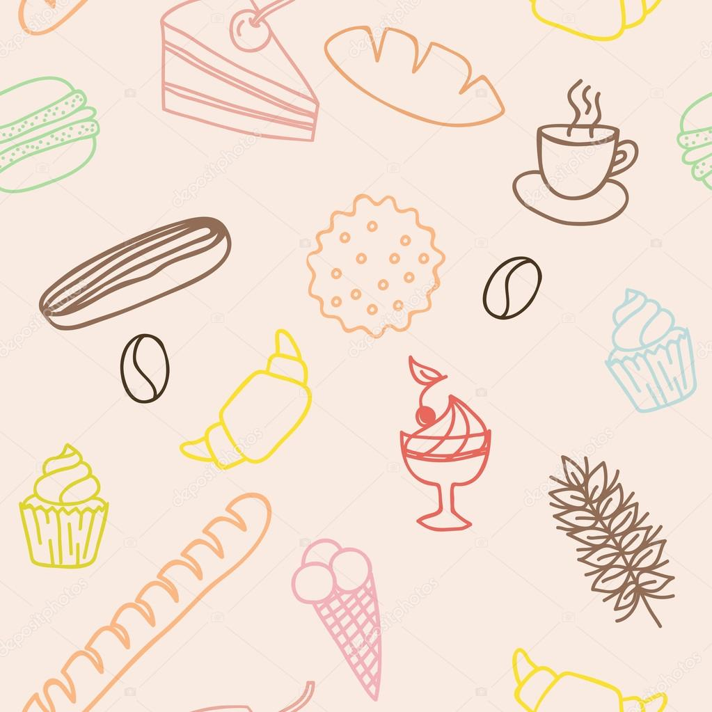 Modèle sans couture comestible avec petits pains gâteaux cookies congelés  fa 40