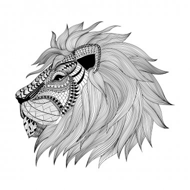 Zentangle stylized Lion face. Hand Drawn doodle vector illustrat