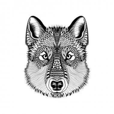 Zentangle stylized Wolf face. Hand Drawn Guata doodle vector ill