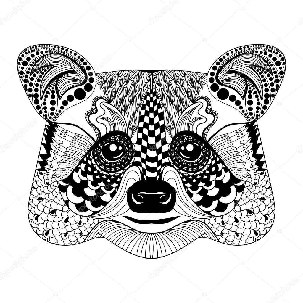 Zentangle stylized Black Raccoon face. Hand Drawn doodle vector