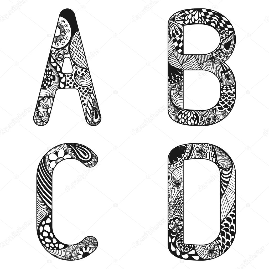 Zentangle stylized alphabet lace letters from a to d in doodle zentangle stylized alphabet lace letters from a to d in doodle stock vector altavistaventures Gallery