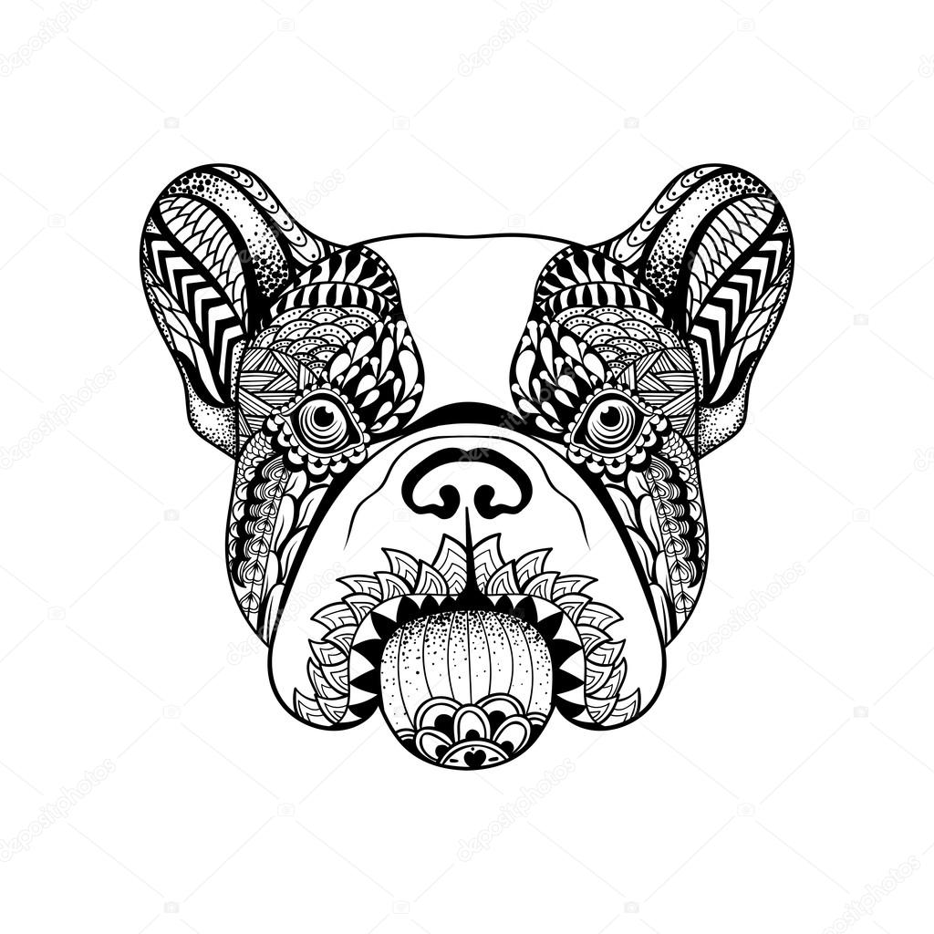 Zentangle stylized French Bulldog face. Hand Drawn Dog