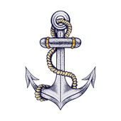 Hand drawn elegant ship sea anchor with rope, colored sketch for