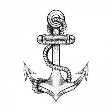 Hand drawn elegant ship sea anchor with rope, black sketch for t