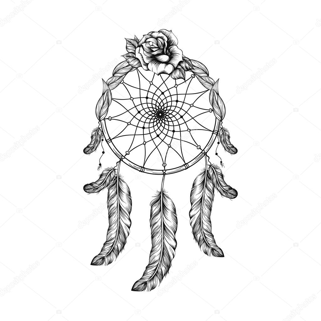 Annabella 67 Art Line Design : Dream catcher with feathers leafs and rose in line art