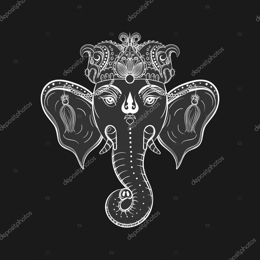 Hand Drawn Elephant Head Indian God Lord Hindu Deity Ganesha G